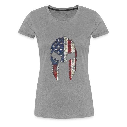 American Spartan Warrior Helmet Patriotic Flag T S - Women's Premium T-Shirt