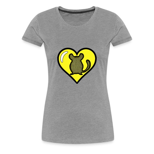 Yellow Chinchilla Heart - Women's Premium T-Shirt