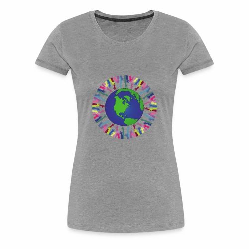 Geometric Art/Human Abstract/Earth Globe - Women's Premium T-Shirt