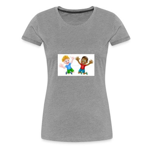 happy cartoon boys young one black one white jumpi - Women's Premium T-Shirt