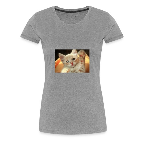 cute kitten high five little light red giving 3032 - Women's Premium T-Shirt