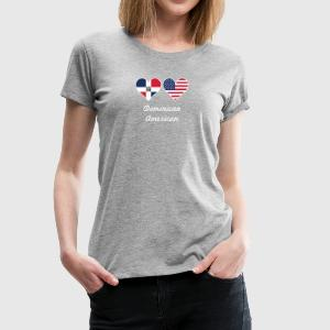 Dominican American Flag Hearts - Women's Premium T-Shirt