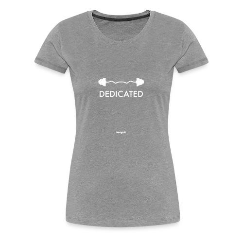Dedicated Fitness Graphic Tee on Dark - Women's Premium T-Shirt
