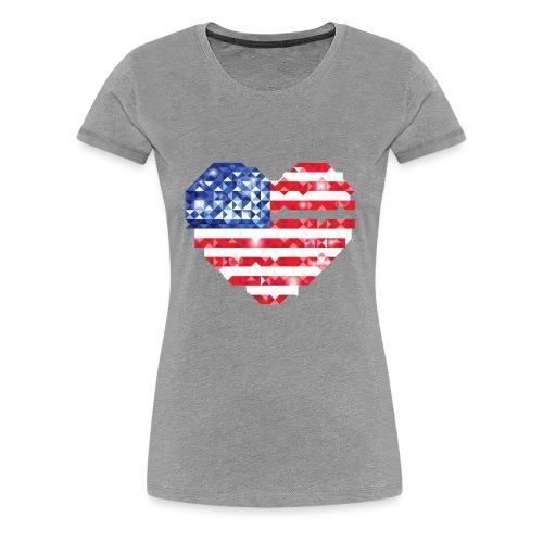 American Flag Heart Shirt - Women's Premium T-Shirt