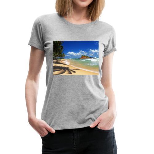 Beach with palm trees, Sri Lanka - Women's Premium T-Shirt