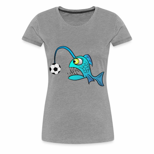 funny Lantern Fish with Soccer ball - Women's Premium T-Shirt