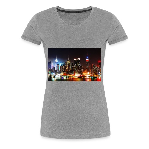 New York City Skyline at Night - Women's Premium T-Shirt