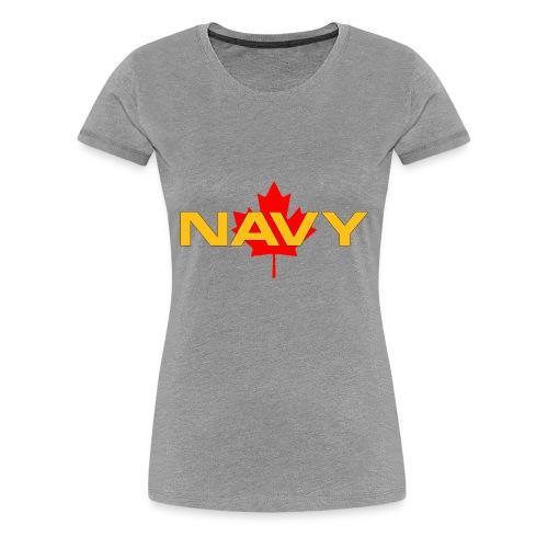 Navy Logo on Maple Leaf - Women's Premium T-Shirt