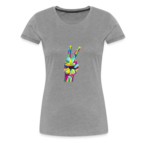Colorful Victory hand sign - Women's Premium T-Shirt