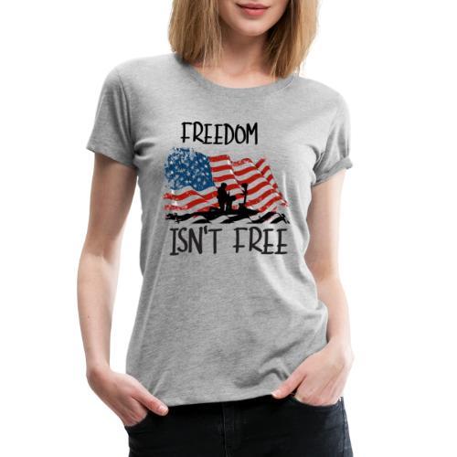Freedom isn't free flag with fallen soldier design - Women's Premium T-Shirt