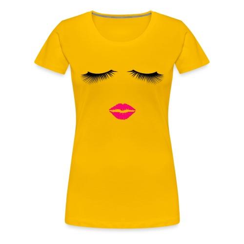 Lipstick and Eyelashes - Women's Premium T-Shirt