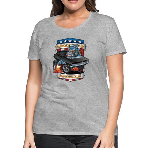 American Muscle Patriotic Muscle Car Cartoon - Women's Premium T-Shirt