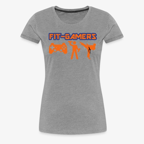 FIT-GAMERS Logo w/ Icons - Women's Premium T-Shirt
