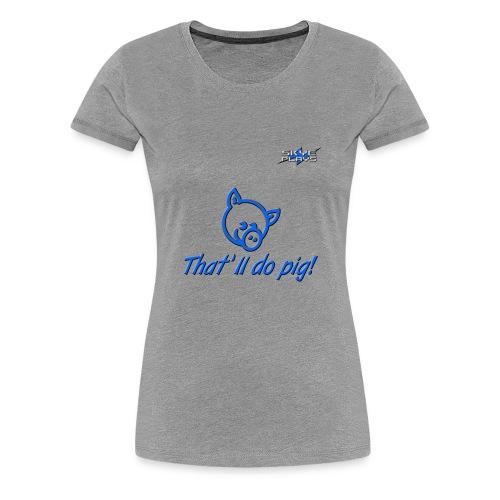 Skye Plays PIG TDP Blue 800ppi png - Women's Premium T-Shirt