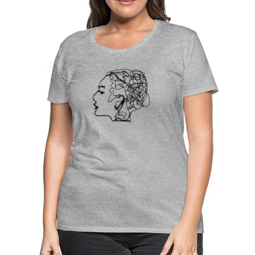 Drawing a girl from a profile - Women's Premium T-Shirt