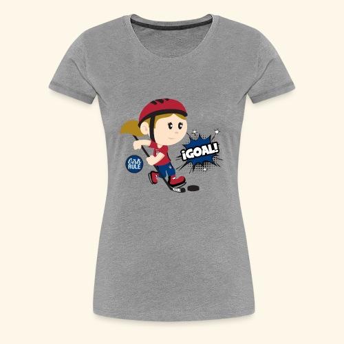 American girl playing hockey scoring goal Blue Red - Women's Premium T-Shirt