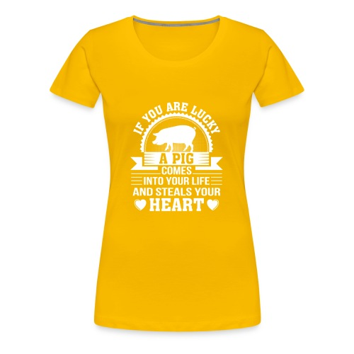 Mini Pig Comes Your Life Steals Heart - Women's Premium T-Shirt