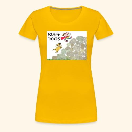 Dog chasing kid - Women's Premium T-Shirt