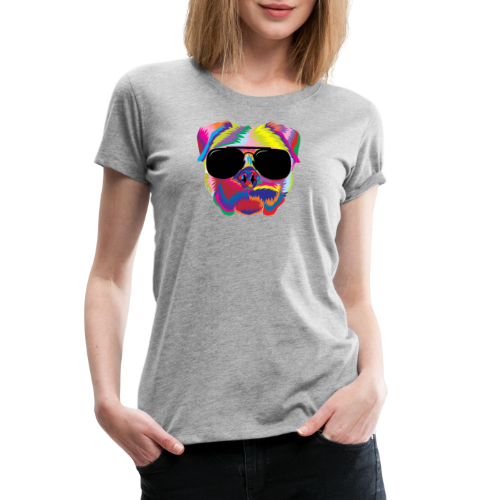 Psychedelic Pug Dog Face with Sunglasses - Women's Premium T-Shirt