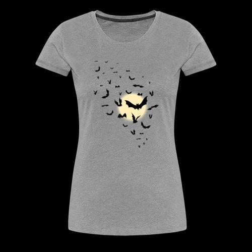 The Moon With Bats Halloween T shirt High Quality - Women's Premium T-Shirt