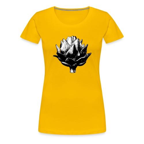 Big Artichoke Illustration - Black Ink, White Fill - Women's Premium T-Shirt