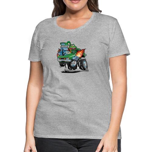 Seventies Green Hot Rod Funny Car Cartoon - Women's Premium T-Shirt