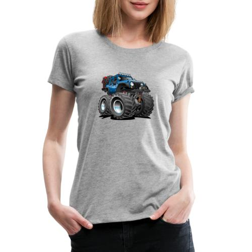 Off road 4x4 blue jeeper cartoon - Women's Premium T-Shirt