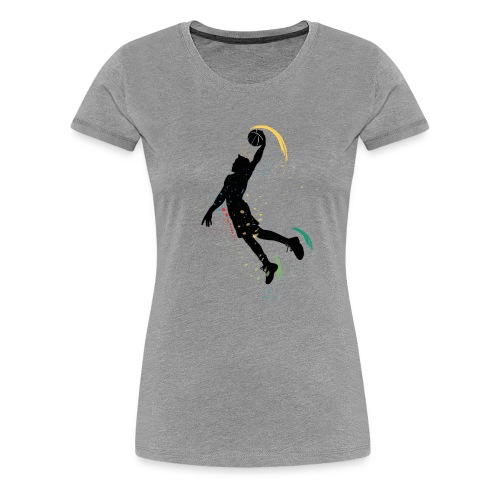 basketball drawing player grunge silhouette decor - Women's Premium T-Shirt