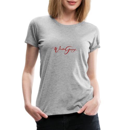 WhoStun gaming small calligraphy design RED - Women's Premium T-Shirt