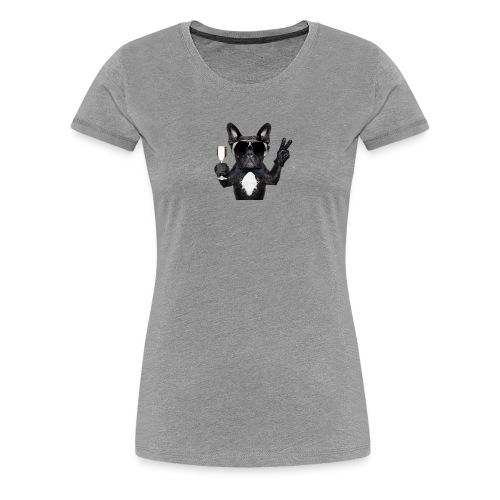 Party dog drinking champagne - Women's Premium T-Shirt