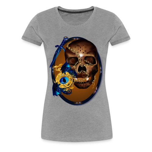 Oval-Dark Skull with Evil - Women's Premium T-Shirt