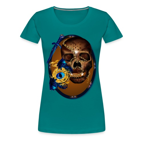 Oval-Dark Skull with Evil - Women's Premium T-Shirt