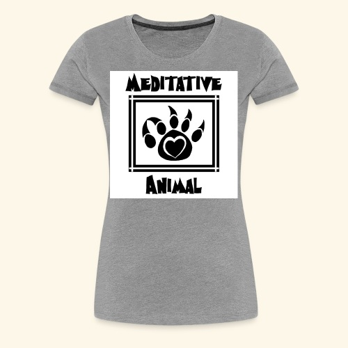 B&W Meditative Animal Paw - Women's Premium T-Shirt
