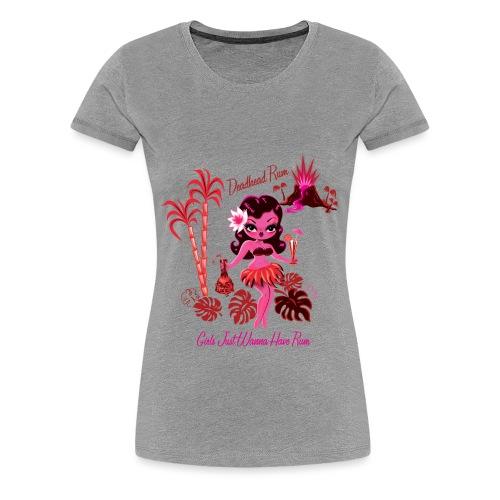 Retro Hula Girl Deadhead Rum - Women's Premium T-Shirt
