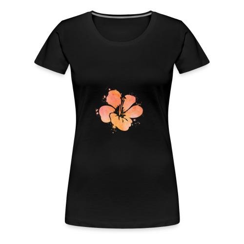 Hibiscus Watercolor Design - Women's Premium T-Shirt