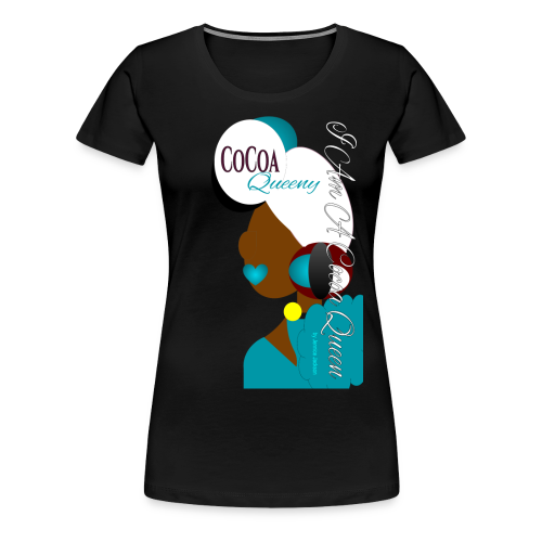 Burgundy, Turquoise, White Head Tie Cocoa Queen - Women's Premium T-Shirt