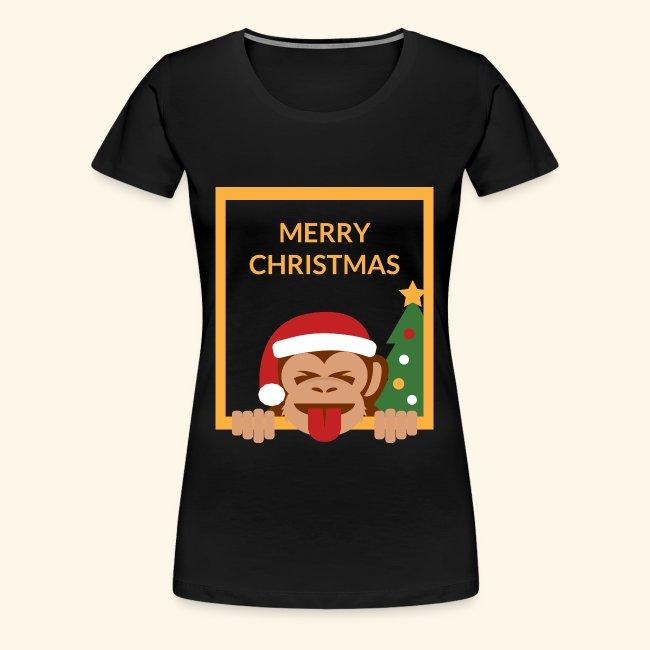 Merry Christmas Santa Monkey Tongue and Closed Eye