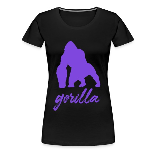 Gorilla Logo, Purple W/ Text - Women's Premium T-Shirt