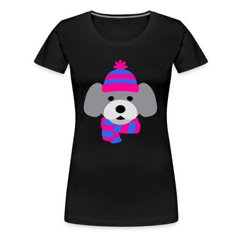 Cute Grey dog in pink and blue hat and scarf - Women's Premium T-Shirt