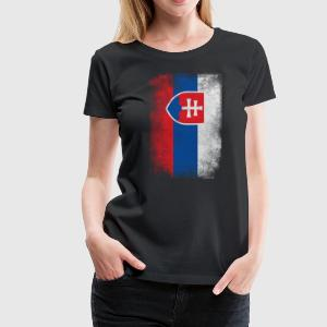 Slovakia Flag Proud Slovakian Vintage Distressed - Women's Premium T-Shirt