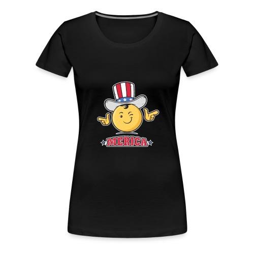Uncle Sam Smiley Emoticon Merica - Women's Premium T-Shirt