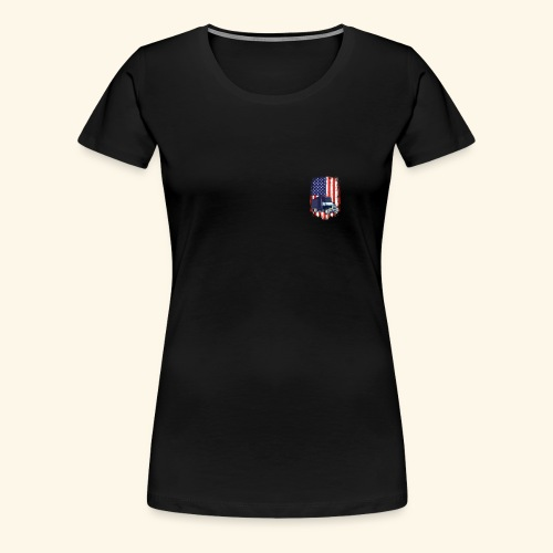 Truck Driver Logo T-Shirt with American Flag - Women's Premium T-Shirt