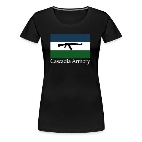 Cascadia Armory Logo White Text - Women's Premium T-Shirt