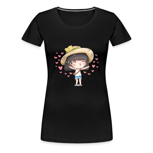 Cute happy girl with heart around - Women's Premium T-Shirt