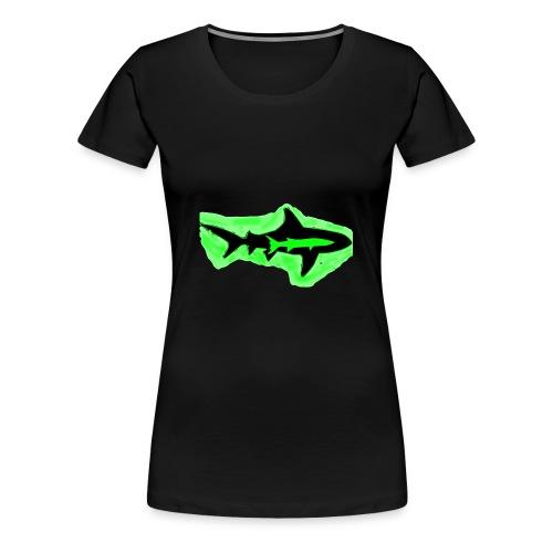 Green Glowing Barracuda Shark - Women's Premium T-Shirt