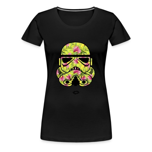 Trooper Mask Floral Green - Women's Premium T-Shirt