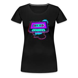 80s Music Cassette Tape : 3D, Neon, 80s songs - Women's Premium T-Shirt