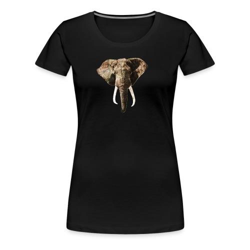 Elephant Geographic Head Illustration - Women's Premium T-Shirt