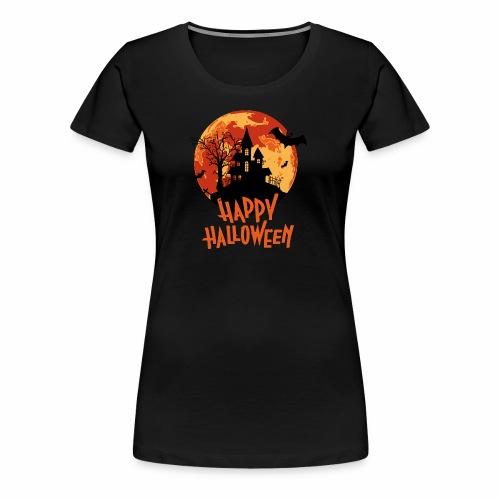 blood moon haunted house happy Halloween design - Women's Premium T-Shirt