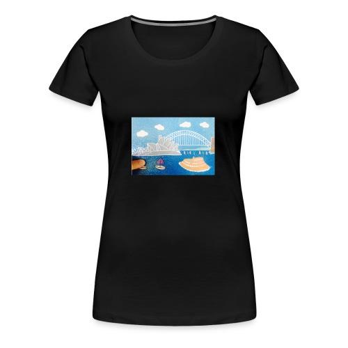 Sydney Harbour Sand Art 800x554 - Women's Premium T-Shirt